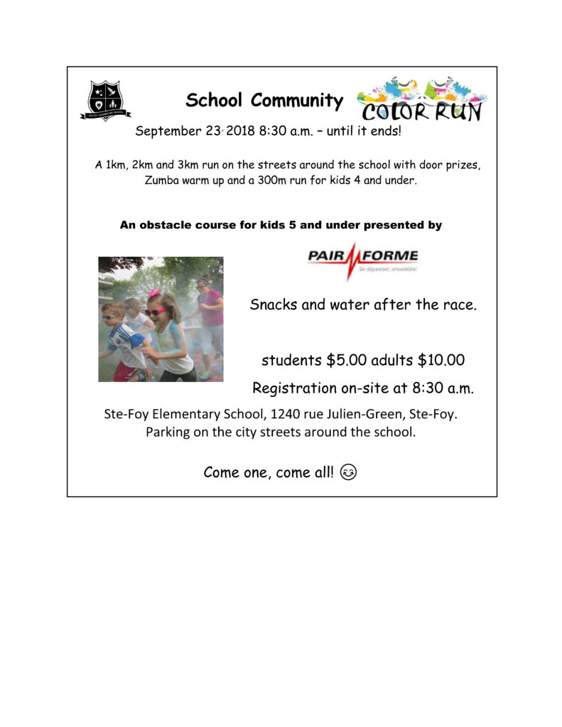 Sainte Foy Elementary Community Colour Run Events Veq