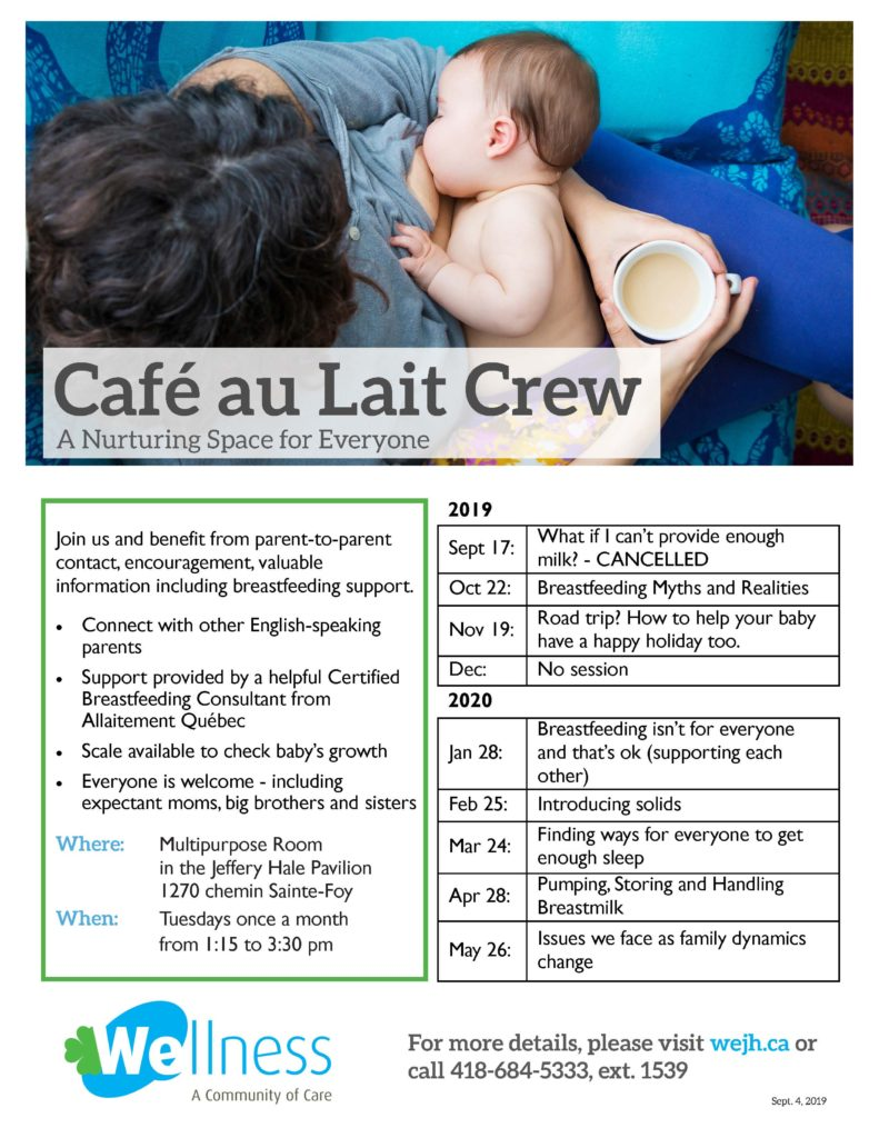 Get Together with the Café au Lait Crew at the Community Wellness Centre @ Multipurpose Room in the Jeffery Hale Pavilion